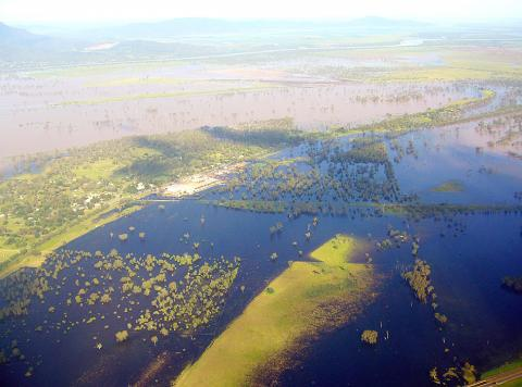 An aerial view shows flooding in Rockhampton, Queensland, Australia, on Dec.