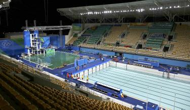 Rio Olympics Rio Officials Race Against The Clock To Drain Fill Pool Taipei Times