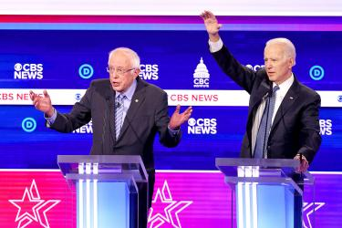 Sanders roughed up, but hits back in lively debate