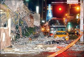 Debris Covers A Street In Greater Taichung On Friday Evening After Scaffolding Along The Facade Of Splendor Hotel Collapsed