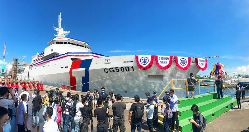 Tsai lauds launch of nation's largest patrol ship - Taipei Times